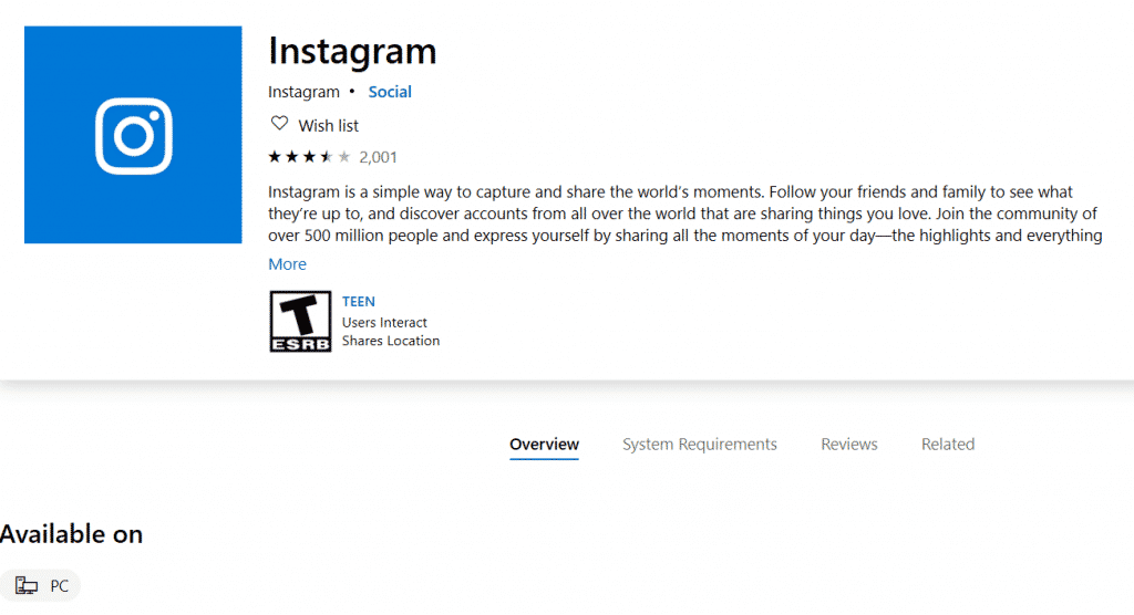 3. Official Window's Instagram App Instagram for PC